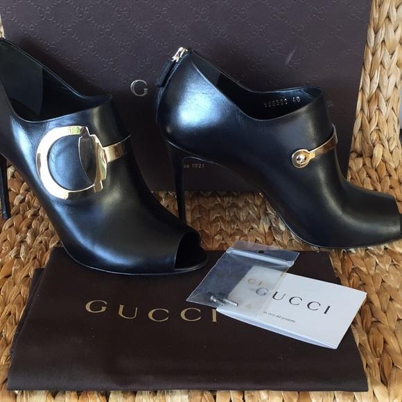 cd439e00145 NIB Gucci Giant Horsebit Peep Toe Bootie size 40 NWT